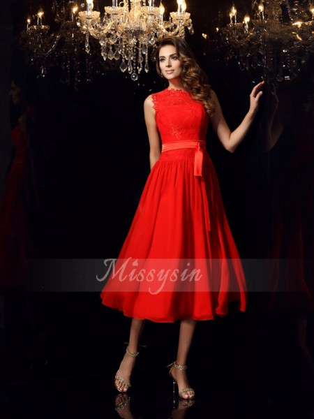 A-Line/Princess High Neck Tea-Length Chiffon Sleeveless Sash/Ribbon/Belt Dresses