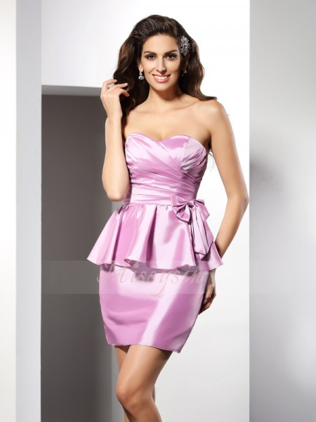 Sheath/Column Sweetheart Short/Mini Taffeta Sleeveless Bowknot Dresses