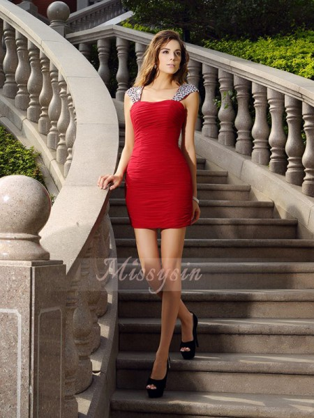 Sheath/Column Straps Short/Mini Chiffon Sleeveless Beading Dresses
