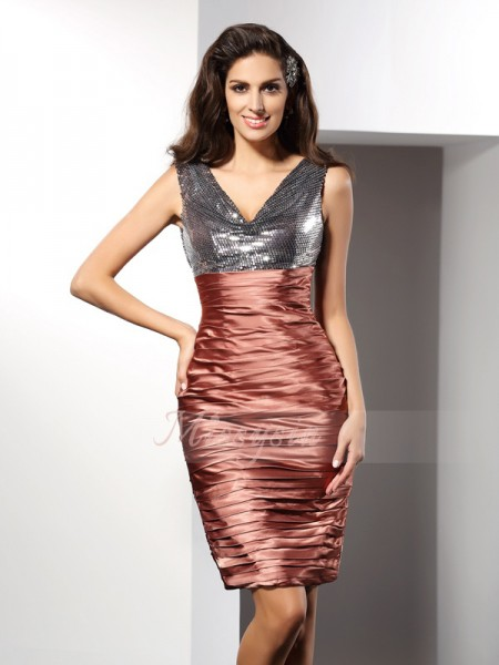 Sheath/Column V-neck Knee-Length Silk like Satin Sleeveless Other Dresses