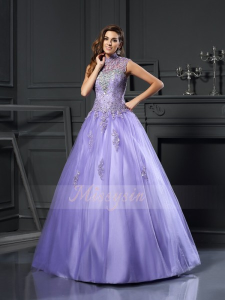 Ball Gown High Neck Floor-Length Net Sleeveless Beading,Applique Dresses