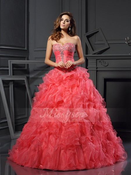 Ball Gown Sweetheart Floor-Length Organza Sleeveless Ruffles Dresses