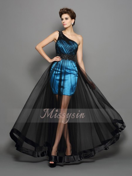 A-Line/Princess One-Shoulder Floor-Length Elastic Woven Satin Sleeveless Ruched Dresses