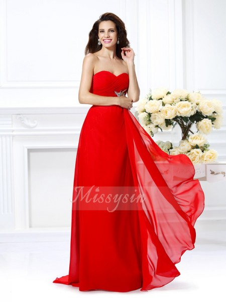 A-Line/Princess Sweetheart Floor-Length Chiffon Sleeveless Beading Dresses