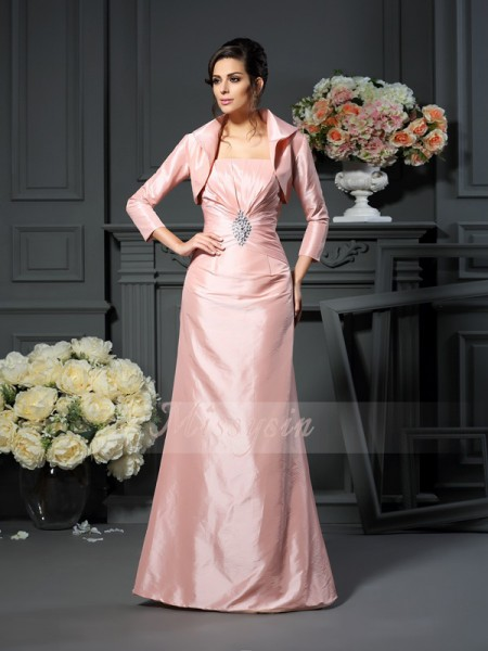 A-Line/Princess Strapless Floor-Length Taffeta Sleeveless Pleats Mother of the Bride Dresses
