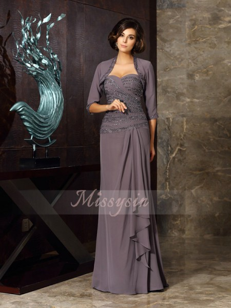 Sheath/Column Sweetheart Floor-Length Chiffon Sleeveless Beading,Applique Mother of the Bride Dresses