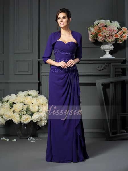A-Line/Princess Sweetheart Floor-Length Chiffon Sleeveless Beading Mother of the Bride Dresses
