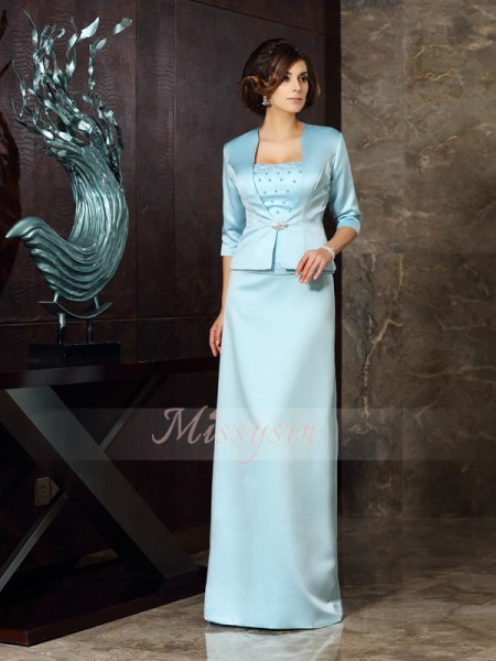 Sheath/Column Strapless Floor-Length Satin Sleeveless Other Mother of the Bride Dresses