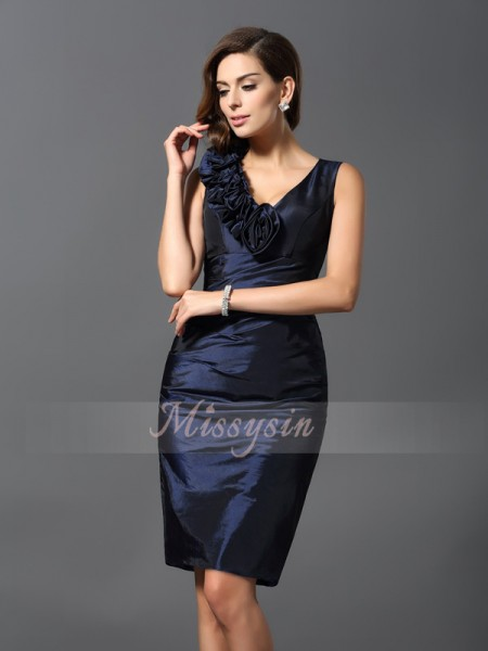 Sheath/Column V-neck Knee-Length Taffeta Sleeveless Hand-Made Flower Dresses