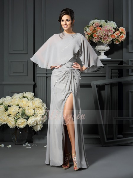 Trumpet/Mermaid One-Shoulder Floor-Length Chiffon Sleeveless Beading Mother of the Bride Dresses
