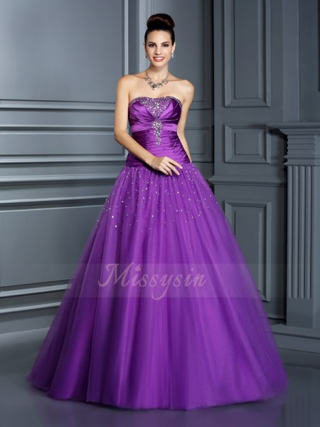 Ball Gown Floor-Length Strapless Sleeveless Taffeta Dresses