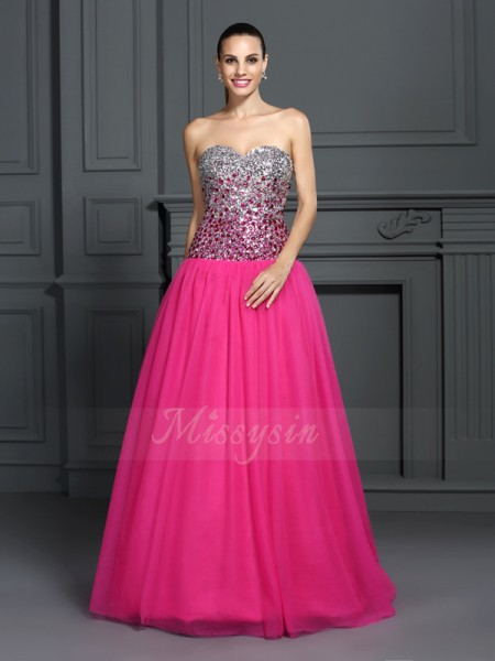 Ball Gown Floor-Length Sweetheart Sleeveless Organza Dresses