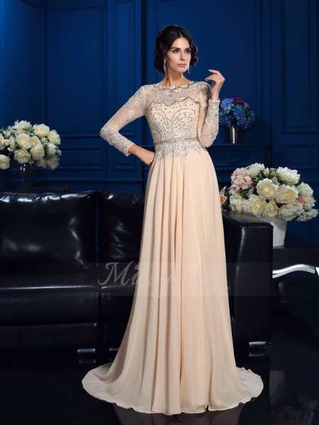 A-Line/Princess Scoop Long Sleeves Chiffon Sweep/Brush Train Beading Mother of the Bride Dresses