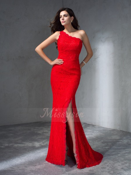 Trumpet/Mermaid One-Shoulder Sleeveless Lace Sweep/Brush Train Dresses