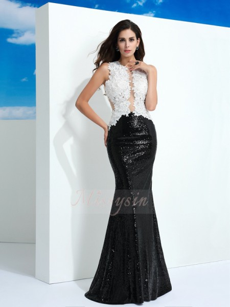 Sheath/Column Scoop Sleeveless Lace Floor-Length Paillette Dresses