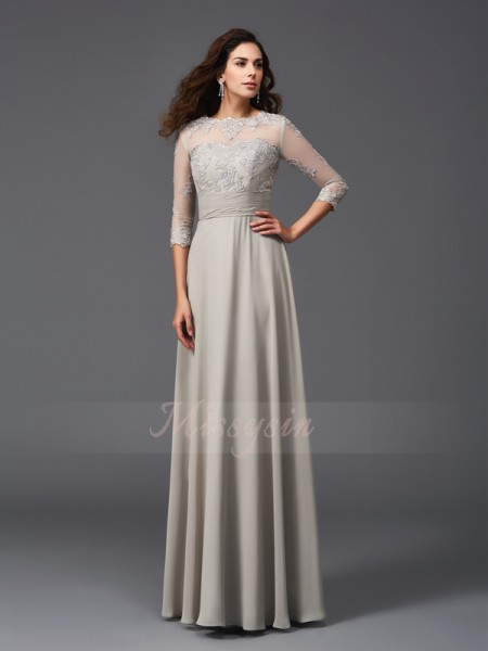 A-Line/Princess Scoop 3/4 Sleeves Chiffon Floor-Length Applique Dresses