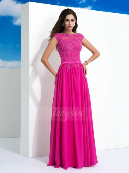 A-Line/Princess Sheer Neck Sleeveless Chiffon Floor-Length Dresses
