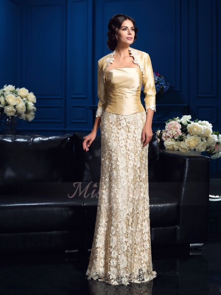 A-Line/Princess Strapless Sleeveless Lace Floor-Length Mother of the Bride Dresses