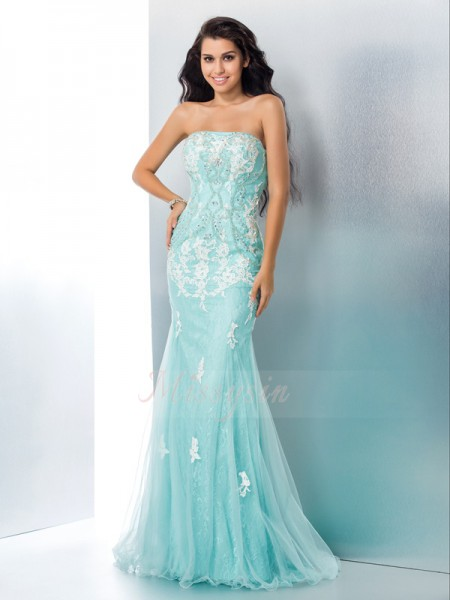 Trumpet/Mermaid Strapless Sleeveless Lace Floor-Length Applique Dresses