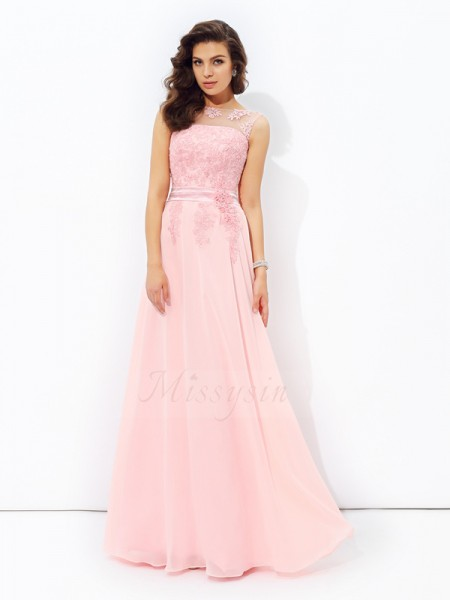 A-line/Princess Scoop Sleeveless Chiffon Floor-length Applique Dresses