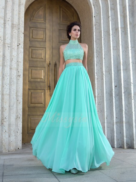 A-Line/Princess High Neck Sleeveless Chiffon Floor-Length Beading Dresses