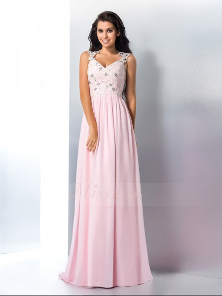 A-Line/Princess V-neck Sleeveless Chiffon Sweep/Brush Train Applique Dresses