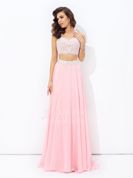 A-line/Princess Straps Sleeveless Chiffon Floor-Length Applique Dresses