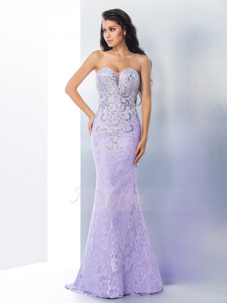 Trumpet/Mermaid Sweetheart Sleeveless Lace Sweep/Brush Train Beading Dresses