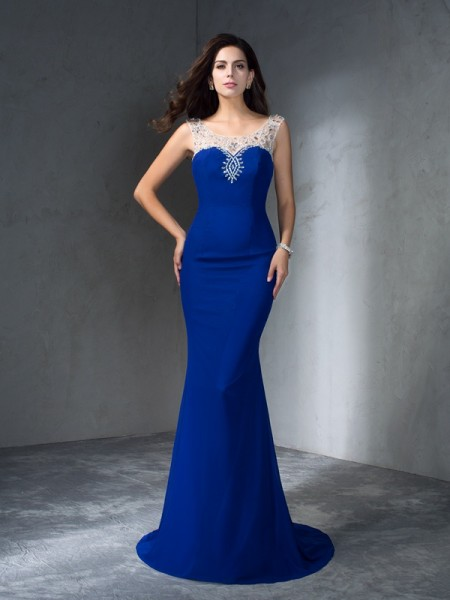 Trumpet/Mermaid Scoop Sleeveless Chiffon Sweep/Brush Train Beading Dresses