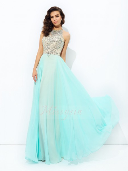 A-line/Princess Jewel Sleeveless Chiffon Floor-Length Beading Dresses