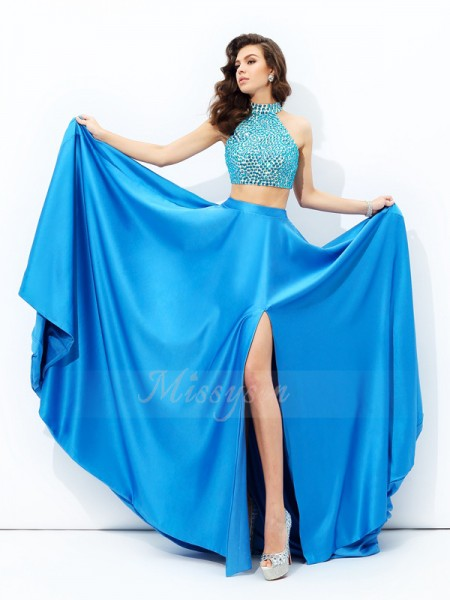 A-line/Princess High Neck Sleeveless Satin Court Train Beading Dresses