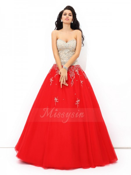 Ball Gown Sweetheart Sleeveless Satin Floor-Length Beading Quinceanera Dresses