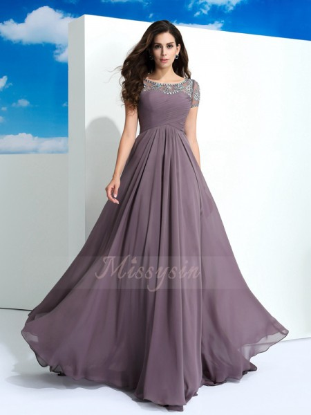 A-Line/Princess Sheer Neck Short Sleeves Chiffon Floor-Length Beading Dresses