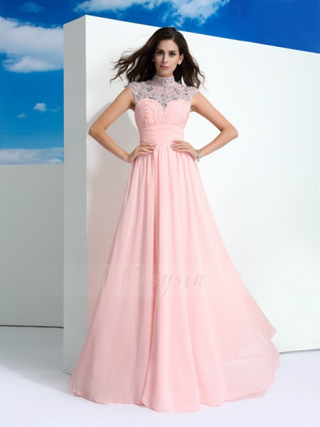 A-Line/Princess Sheer Neck Sleeveless Chiffon Floor-Length Beading Dresses