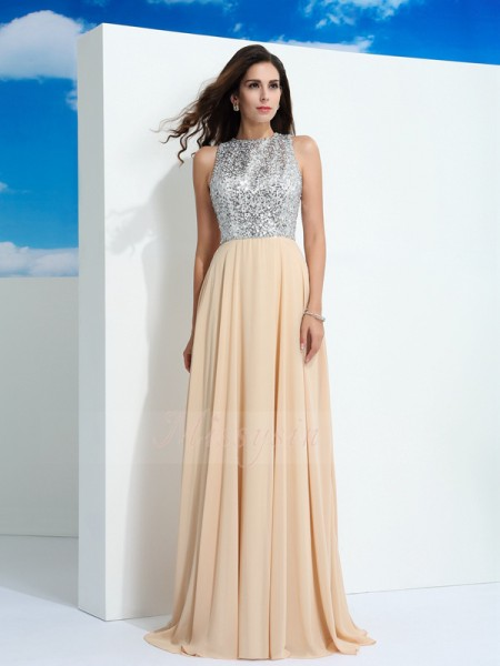 A-Line/Princess Scoop Sleeveless Chiffon Sweep/Brush Train Paillette Dresses