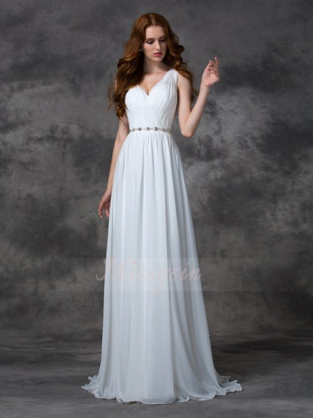 A-line/Princess V-neck Sleeveless Chiffon Sweep/Brush Train Beading Dresses