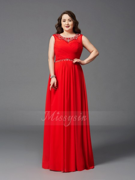 A-Line/Princess Scoop Sleeveless Chiffon Floor-Length Beading Plus Size Dresses