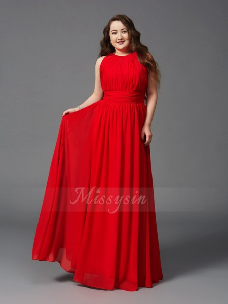 A-Line/Princess Jewel Sleeveless Chiffon Floor-Length Ruched Plus Size Dresses