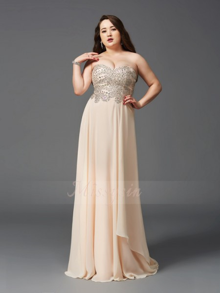 A-Line/Princess Sweetheart Sleeveless Chiffon Sweep/Brush Train Rhinestone Plus Size Dresses