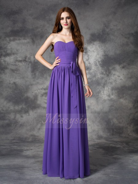 A-line/Princess Sweetheart Sleeveless Chiffon Floor-length Ruffles Bridesmaid Dresses