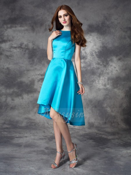 A-line/Princess Bateau Sleeveless Satin Asymmetrical Ruffles Bridesmaid Dresses