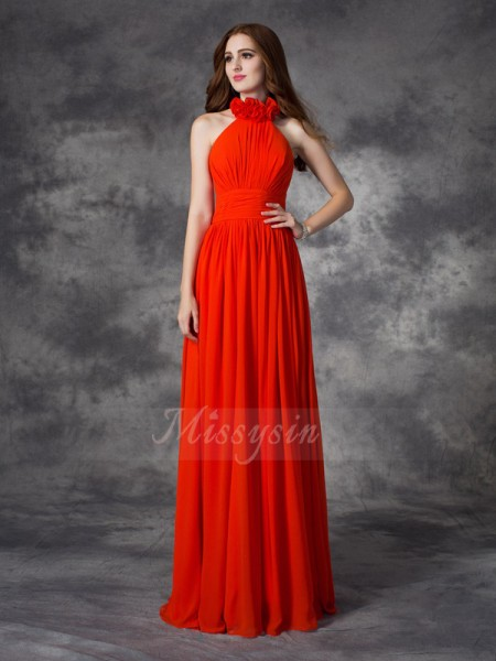 A-line/Princess Halter Sleeveless Chiffon Floor-length Hand-Made Flower Bridesmaid Dresses