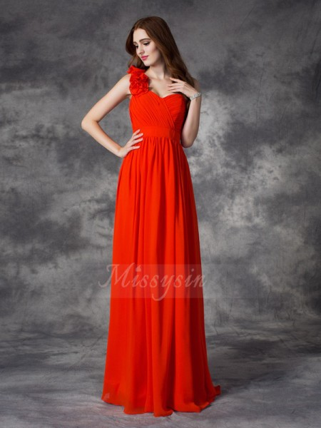 A-line/Princess One-Shoulder Sleeveless Chiffon Floor-length Hand-Made Flower Bridesmaid Dresses