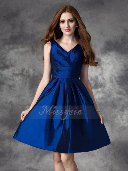 A-line/Princess V-neck Sleeveless Taffeta Short/Mini Ruched Bridesmaid Dresses