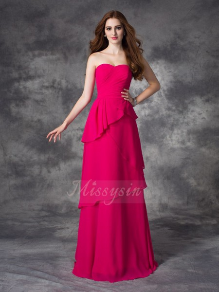 A-line/Princess Sweetheart Sleeveless Chiffon Floor-length Layers Bridesmaid Dresses