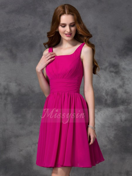 A-line/Princess Square Sleeveless Chiffon Short/Mini Bridesmaid Dresses