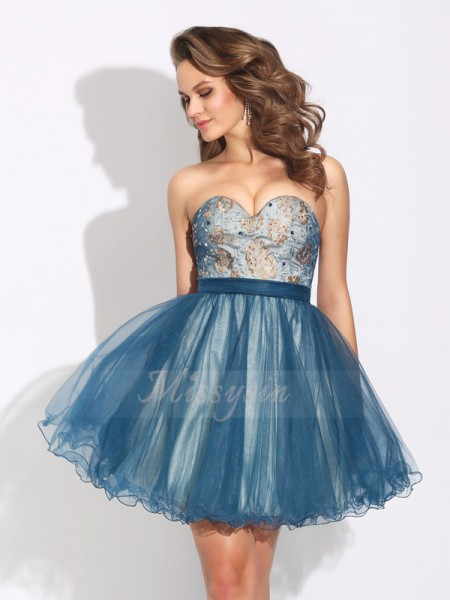A-Line/Princess Sweetheart Sleeveless Net Short/Mini Ruffles Dresses