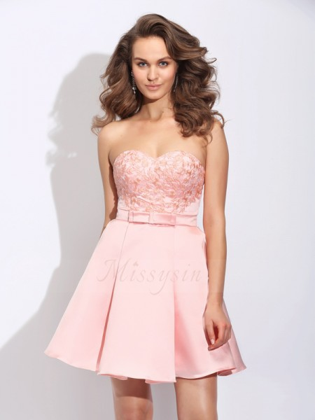 A-Line/Princess Sweetheart Sleeveless Satin Short/Mini Ruffles Dresses