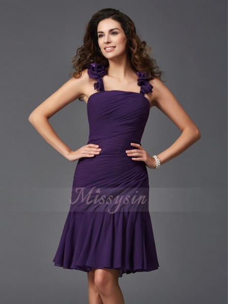 Sheath/Column Straps Sleeveless Chiffon Short/Mini Ruched Dresses