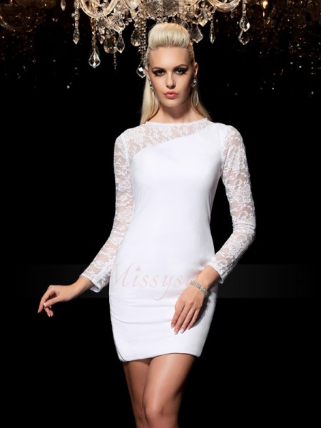 Sheath/Column Scoop Long Sleeves Elastic Woven Satin Short/Mini Dresses